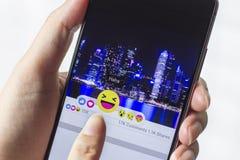 Facebook desarrolla cinco nuevos botones de las reacciones Imagen de archivo libre de regalías