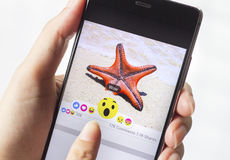 Facebook desarrolla cinco nuevos botones de las reacciones Fotografía de archivo libre de regalías