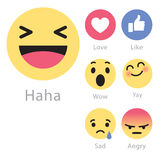 Facebook desarrolla cinco nuevos iconos del emoticon ilustración del vector
