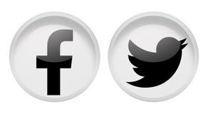 Facebook e cinguettio sociali di media Fotografia Stock Libera da Diritti