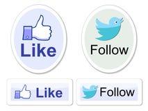 Facebook e o gorjeio gostam d abotoam-se Imagens de Stock Royalty Free