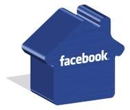 Facebook-embleem in 3d vorm op grond Stock Afbeelding