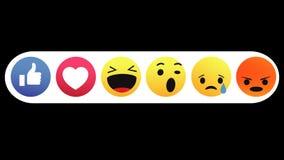 Facebook emocji Emoji sieci ogólnospołeczna animacja z Alfa kanałem, pętla, 4k royalty ilustracja