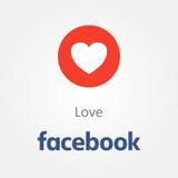 Facebook emotion icon. Love heart emoji vector.  Royalty Free Stock Photos