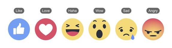 Facebook 6 Empathetic Emoji reaktioner royaltyfri illustrationer