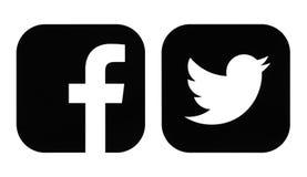 Facebook en de zwarte pictogrammen van Twitter royalty-vrije illustratie