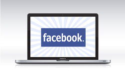 Facebook en el macbook favorable ilustración del vector