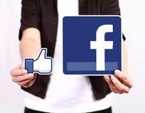 Facebook en Gelijkaardig pictogram Royalty-vrije Stock Foto
