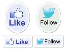 Facebook et le Twitter l'aiment se boutonne Images libres de droits