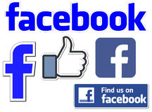 Facebook fb app. Stickers mentioned find us on fb and like Stock Photo