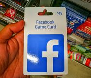 Facebook Game Card is the quick and easy way to buy items in your favourite games and apps on Facebook. SYDNEY, AUSTRALIA. – On February 25, 2018 stock photography
