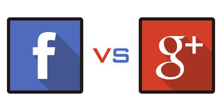 Facebook gegen Google+ Stockbilder
