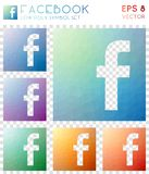 Facebook geometric polygonal icons. Artistic mosaic style symbol collection. Energetic low poly style. Modern design. Facebook icons set for infographics or stock illustration