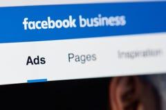 Facebook-Geschäftsseite Lizenzfreie Stockfotos