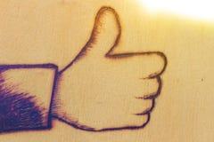 Facebook gillar på trä Fotografering för Bildbyråer