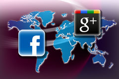 facebook google plus v Arkivfoto