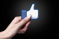 Facebook gosta do ícone Fotografia de Stock