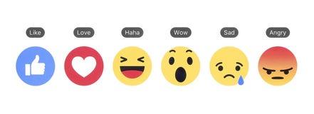 Facebook gosta do botão e de reações compreensivo de Emoji imagens de stock royalty free