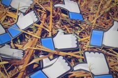 Facebook gradisce su uno sraw Fotografia Stock