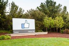 Facebook högkvarter i Menlo Park, Kalifornien Arkivfoto