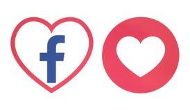 Facebook-Herzikone mit Liebe einfühlsamer Emoji-Reaktion vektor abbildung
