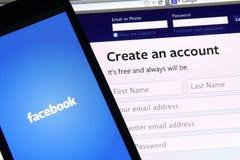 Facebook-het scherm Royalty-vrije Stock Foto's