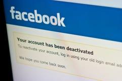 Facebook-het scherm van de rekeningsdeactivering, sociale media royalty-vrije stock afbeelding
