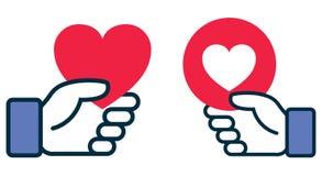 Facebook hjärtasymbol i hand royaltyfri illustrationer