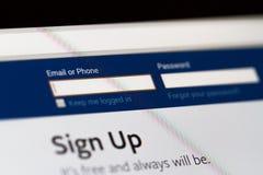Facebook-Homepage-Form Lizenzfreie Stockbilder