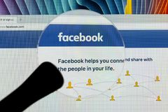 Facebook homepage, one of the biggest social network website. Homepage of Facebook.com on Apple iMac monitor screen Royalty Free Stock Images