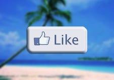 Facebook I like. Button whit paradise beach creative concept Stock Photo
