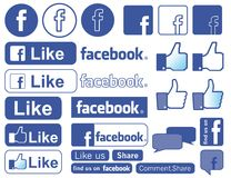 Facebook icon. Illustration of Facebook icon collection, isolated on white