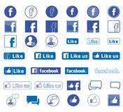 Facebook icons set vector royalty free illustration