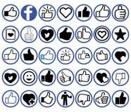 Facebook-Ikonen-Sammlung lizenzfreie abbildung