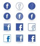 Facebook ikony, ogólnospołeczne medialne ikony ustawiają wektor ilustracja wektor