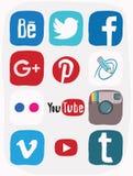Facebook, instagram, Google più l'icona dei media sociali, scarabocchio di colore Immagini Stock Libere da Diritti