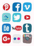 Facebook, instagram, google plus icon of social media, color doodle Stock Photo