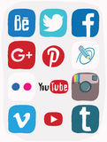 Facebook, instagram, google plus icon of social media, color doodle Royalty Free Stock Images
