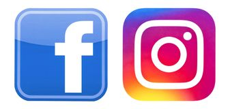 Facebook and Instagram logos placed on white. Kiev, Ukraine - October 16, 2016: Set of Facebook and Instagram logos, printed on paper and placed on white stock illustration