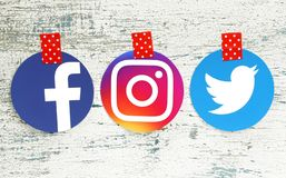 Facebook, Instagram and Twitter round icons royalty free stock image