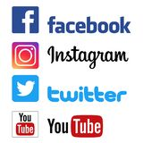 Facebook instagram twitter youtube logos. Social media icons. Facebook you tube twitter intagram logos on white background - editable vector illustration royalty free illustration