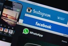 Facebook, Instagram, Whatsapp foto de stock royalty free