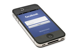 facebook iphone zdjęcie stock