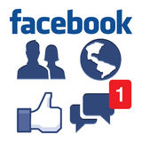 Facebook. Johor, Malaysia - Jun 14, 2014: Facebook icons on keyboard button, Facebook is a popular free social networking website in the world, Jun 14, 2014 in Stock Image