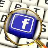 Facebook Key Magnified Means Connect To Face Book Royalty Free Stock Image
