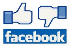 Facebook le gusta el logotipo para el comercio electrónico, sitios web, aplicaciones móviles, banderas, en la pantalla de la PC Foto de archivo