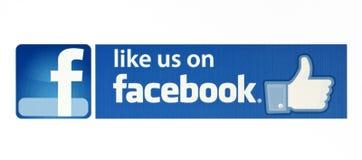 Facebook le gusta el logotipo para el comercio electrónico, sitios web, aplicaciones móviles, banderas en la pantalla de la PC Foto de archivo