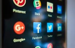 Facebook - le réseau social de les plus populaires dans le monde Image libre de droits
