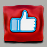 Facebook Like award on red ceremonial pillow Royalty Free Stock Images