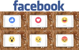 Facebook like button Empathetic Emoji icons stock photo